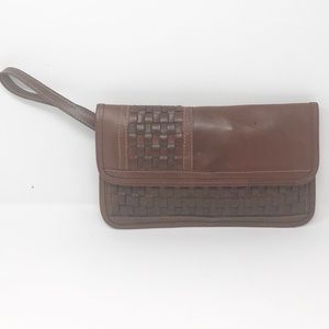 Vintage brown leather clutch wristlet purse